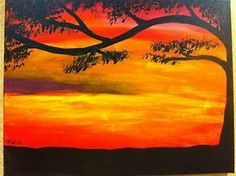 Easy sunset painting | Painting Ideas | Pinterest | Acrylic paintings and Acrylics