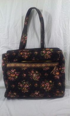 "Vintage Vera Bradley Chocolat 13"" Laptop Work Shoulder Book Tote Bag  #VeraBradley #VeraBradleyTote #VeraBradleyChocolat"