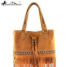 Montana West Tribal Pattern Studded Fringe Genuine Leather