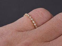 Art Deco Matching Wedding Band Diamond Full Eternity Ring Solid 18K Yellow Gold