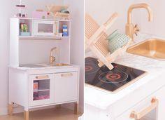 Ikea Duktig Play Kitchen Makeovers - Idea for P's new play kitchen Ikea Toy Kitchen, Mini Kitchen, Kitchen Hacks, Kitchen Makeovers, Ikea Duktig, Ikea Stuva, Ikea Kura Bed, Ikea Toys, Colorful Playroom