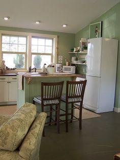white appliances, green island