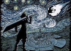 """""""Starry Fantasy"""" by ddjvigo Cloud Strife of Final Fantasy in the style of Van Gogh's Starry Night Final Fantasy Xv, Final Fantasy Collection, Final Fantasy Artwork, Fantasy Series, Fantasy Rpg, Fantasy Posters, Video Game Art, Oeuvre D'art, Finals"""