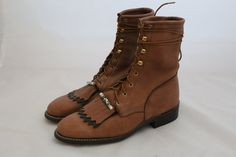 Brown Leather Boots with Fringe and Bead / by TheWildsVintageShop
