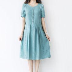 summer dress women leisure dress cotton kneelength by ideacloth, $58.00