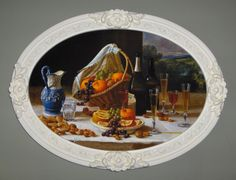 STILL LIFE art print, on canvas, in oval frame with egg shell color.