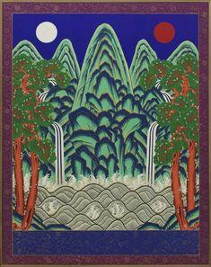 일월오봉도 삽병 - 국립고궁박물관 Korean Art, Asian Art, Oriental Pattern, Purple Haze, Folk Art, Diy And Crafts, Japanese, Culture, Pic Pic