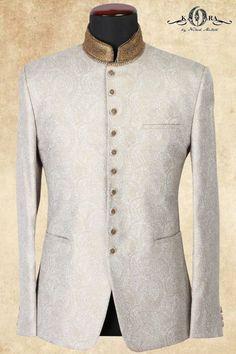 Off White Jute Zari Embroidered Jodhpuri Boys Wedding Suits, Wedding Dress Men, Mens Fashion Suits, Mens Suits, Fashion Outfits, Engagement Suits, Reception Suits, All Black Suit, Wedding Sherwani