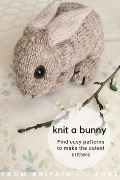 love this dot pebbles rabbit knitting pattern to hand knit the cutest lifelike bunny rabbits and other cute woodland critters including foxes, deer, d. Knitting Stitches, Free Knitting, Baby Knitting, Knitting Toys, Knitting Projects, Crochet Projects, Woodland Critters, Woodland Animals, Forest Animals
