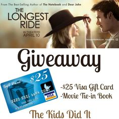 #Win The Longest Ride prize package which includes a $25 Visa gift card and movie tie in book! ($35 ARV) Ends 05/04