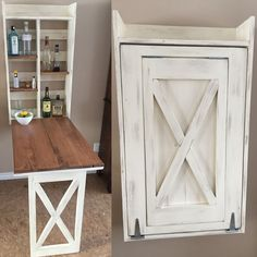Drop down murphy bar - DIY Projects (Diy Storage For Small Spaces) Table Murphy, Murphy Bar, Murphy Desk, Diy Bar, Diy Rangement, Table Design, Design Desk, Design Room, Diy Holz