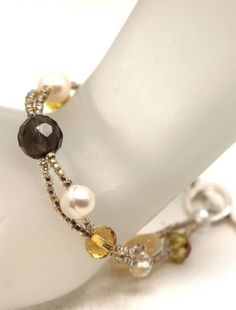 Two strands shimmery Czech seed beads, faceted smoky topaz quartz, iridescent crystals, faceted lemon jade and white pearls bracelet