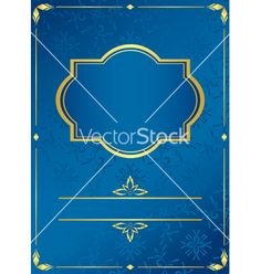 Blue card with golden frame vector by pavalena on VectorStock®