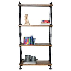 Attractive The Liam Bookcase Pairs Rich Chestnut Finished Shelves With Textured Black  Metal Frames For An Industrial