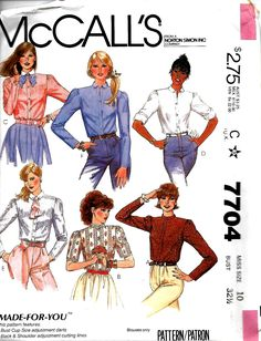 McCall's 7704 Misses Shirt Sewing Pattern, Short And Long Sleeved, 10 & 12, UNCUT by DawnsDesignBoutique on Etsy