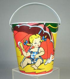 DL Vintage Ohio Art 175 Tin Litho Sand Pail Metal Toy Bucket Children Dog Nice | eBay