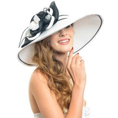 Fanny Women's Large Flower Stripe Wide Brim Sun Hat W300 (White) at Amazon Women's Clothing store: