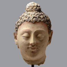 This fine stucco piece, with itsserene expression and youthful Hellenic features depicts the head of a Buddha. The ushnisha, or cranial bump on top of the he