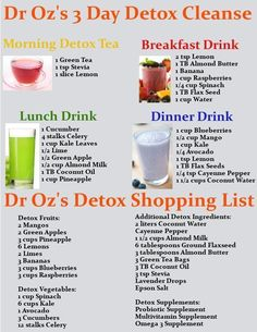 Get Dr Oz's 3 Day Detox Cleanse drink recipes and a… #fastmetabolismdietprintables #FastingDetoxDiet