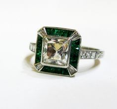 Extraordinary!  Like no other.  #deco #emerald #engagement