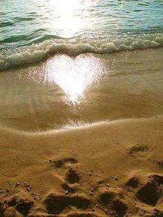 reflet soleil plage coeur