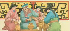 Reconstruction of what a Shang period (1600-1046 BC) family ceremony or ritual may have looked like. Bronze vessels to hold food and wine were used to appease the spirits of the dead. (Giovanni Caselli/China/user: Aethon)