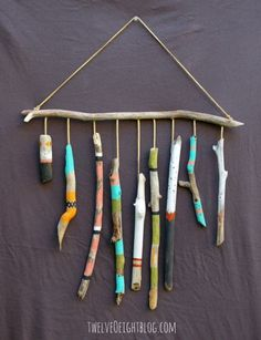 painted driftwood wall hanging (twelveoeightblog)                                                                                                                                                                                 More