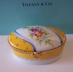 Tiffany Co Limoges Hand Painted Flowers Trinket Box Hinged Peint Main Vintage | eBay