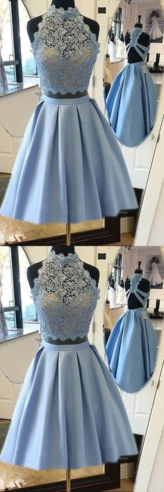 Blue Halter Two Piece Homecoming Dresses,Open Back Appliques Short Prom Dress,Party Dress HCD154   Short Prom Dresses, Homecoming Dresses, Prom Gowns, Party Dresses, Graduation Dresses, Short Prom Dresses, Gowns Prom, Cheap Prom Gowns on Line