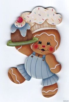 HP Hand Painted Gingerbread Girl & Cupcake~~Fridge Magnet, high by 4 wide, hand painted by me on thick wood with a magnet on back. Gingerbread Ornaments, Gingerbread Decorations, Christmas Gingerbread, Christmas Art, Christmas Ornaments, Tole Painting Patterns, Ginger Cookies, Country Paintings, Christmas Printables