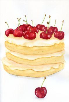 Layer Cake With Cherry  ORIGINAL Painting Still por ForestSpiritArt, £40.00
