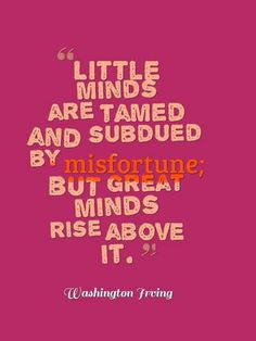 Little minds are tamed and subdued by misfortune; but great minds rise above it. http://sumo.ly/bvXY