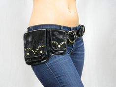 Hip Pack Riveted Design Leather Utility Belt - Black (Beautiful Hip Belt. Great storage. Large enough to store ANY phone on the market)
