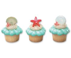 Seashell cupcake rings for a beach or under-the-sea party. Could be cupcake toppers or goodie bag favors.