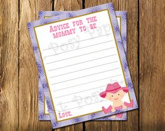 Printable Cowgirl Baby Girl Shower Advice Cards - Instant Download