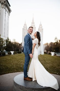 This bride is wearing a modest fitted wedding dress from LatterDayBride. This gown is the perfect modern fit for the modern and modest bride. Wedding Dresses Lds, Elegant Wedding Gowns, Amazing Wedding Dress, Cheap Wedding Dress, Jana Kramer, Wedding Photography Poses, Wedding Poses, Wedding Decor, Wedding Ideas