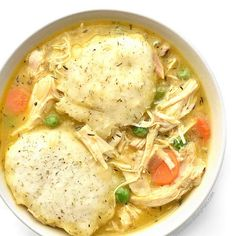 Easy Chicken and Dumplings Recipe Main Dishes with butter, diced onions, sliced carrots, dried thyme, all-purpose flour, chicken stock, salt, ground pepper, roasting chickens, baking powder, dried dillweed, garlic powder, milk, frozen peas