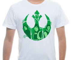 Camiseta Básica na cor Branco - Ilustração Rebel por Tiago Conceicao