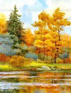 pintura de paisagens outonais - Pesquisa Google