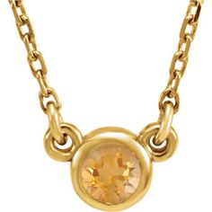 "November Birthstone Necklace in 14K Gold with Citrine Gemstone 16"" Necklace - 61134"