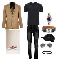 """Monochromatic fashion style stylish men French chic capsule wardrobe travel light packing hack tips"" by jmazen on Polyvore featuring Ray-Ban, Rolex, NIKE, Versace, Hermès, Burberry, River Island, men's fashion and menswear"
