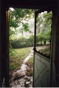 through the door.
