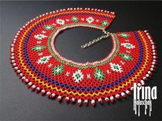 Ukrainian seed bead necklace kryza Lemko krywulka Traditional | Etsy Beaded Earrings, Beaded Jewelry, Beaded Necklaces, Jewellery, Seed Bead Necklace, Seed Beads, Beaded Collar, Minimalist Earrings, Beading Tutorials