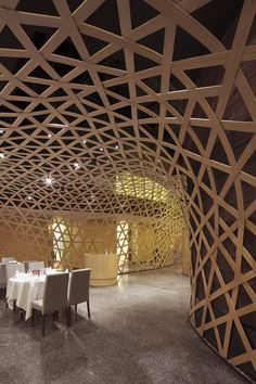woven bamboo dining room