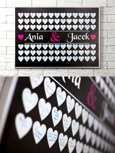 Nowoczesna księga gości na Twój ślub! #księga #gości #ślub #guestbook #wesele #nowoczesna #plakat #design #serca #pamiątka #wesele