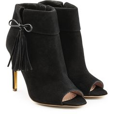 Rupert Sanderson Tinsel Suede Open Toe Ankle Boots (148.895 HUF) ❤ liked on Polyvore featuring shoes, boots, ankle booties, black, black suede ankle booties, short black boots, suede ankle boots, fringe booties and black open toe booties