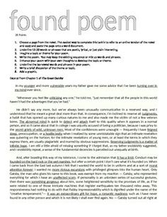 This activity was created using Microsoft Word 2007.  These activities are a great way to encourage students' appreciation of Fitzgerald's lyrical diction and use of figurative language.  Directions require students to find and copy/paste a page from the novel, underline illustrative words and phrases, create a topic or theme, then compose a poem using Fitzgerald's great words.
