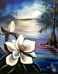 Gorgeous Magnolia flower and moss tree painting, with river and moon. Oh so beautiful!