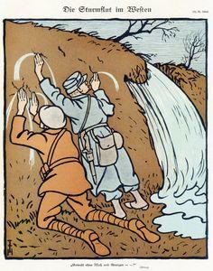 """T. Heine, 'Die Sturmflut im Westen', in 'Simplicissimus' (Duitsland, 30 april 1918). Onderschrift luidt: """"Gewalt ohne Mat und Grenzen -- !"""" Vertaling: 'Geweld zonder maat en grenzen --!'."""