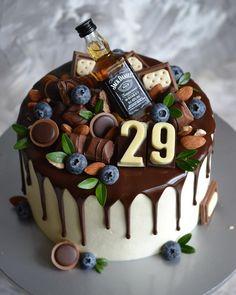 Candy Birthday Cakes, Birthday Cake For Him, Birthday Cakes For Men, Birthday Cake Decorating, Cake Decorating Tips, Liquor Cake, Chocolate Cake Designs, Alcohol Cake, Bithday Cake